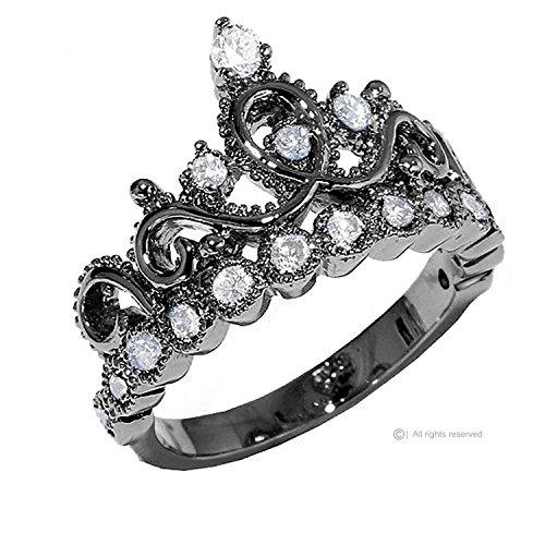Sterling-Silver-Crown-Ring-Princess-Ring-Black-Rhodium-Plated