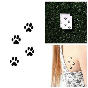 Amazon.com : Dog Paw Prints Temporary Tattoo (Set of 2) : Beauty