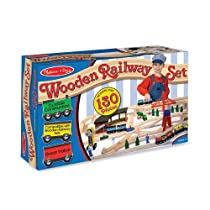 Hot Sale Melissa & Doug Deluxe Wooden Railway Set