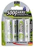 ANSMANN D Size 5000mAh NiMH Low Self Discharge Pre-Charged Rechargeable Batteries (Pack of 2)