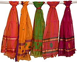Exotic India Lot of Five Chanderi Dupattas with Woven Bootis - Multicolored