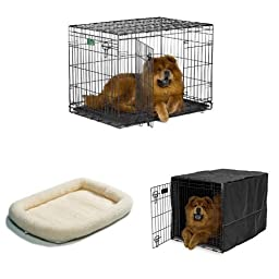 36-Inch Double Door iCrate with Fleece Bed and Cover
