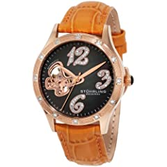 Stuhrling Original Women's 196.1245F27 Vogue Audrey Diamond Butterfly Automatic Skeleton Leather Strap Watch