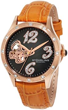 buy Stuhrling Original Women'S 196.1245F27 Vogue Audrey Diamond Butterfly Automatic Skeleton Leather Strap Watch