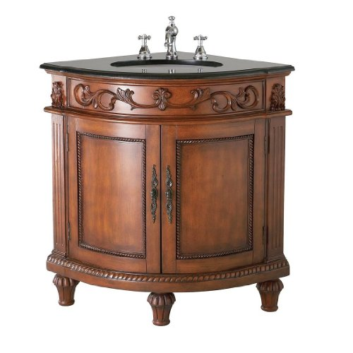 Belle Foret BF80039R Single Basin Bathroom Corner Vanity, Dark Oak