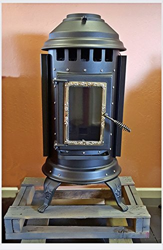 Thelin Parlour Pellet Stove Heater w/ Battery Back Up - Painted Black with Nickle Accent - 40,000 BTU (Thelin Pellet Stove compare prices)