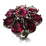 Oversized Magenta Crystal Flower Cocktail Ring