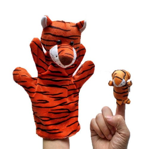 2Pcs (1 Big+1 Small) Lovely Kids Baby Plush Toys Finger Puppet Talking Props Animals Hand Puppets^tiger.