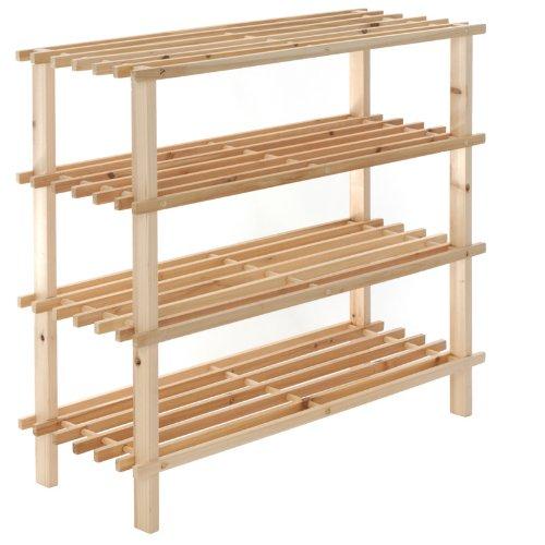 4 Tier Shelf Wooden Wood Shoe Rack Stacking Storage 74cm