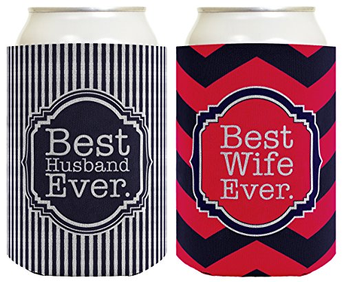 Couple's Gift Beer Coolie Best Husband Ever & Best Wife Ever Newlyweds Anniversary Gift 2 Pack Can Coolie Drink Coolers Coolies Premium Full Color