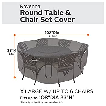 Classic Accessories Ravenna Round Patio Table & Chair Set Cover - Premium Outdoor Furniture Cover with Durable and Water Resistant Fabric, X-Large (55-778-055101-EC)