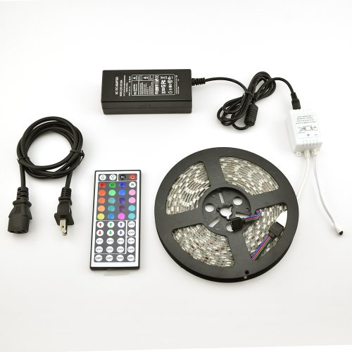 Waterproof Rgb Led Strip Light Kit (16.4 Feet, 300 Leds, 5050 Smd, 44-Key Remote Controller, 5A Power Supply)