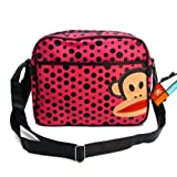 Paul Frank Monkey Face Holdall Messenger Shoulder Vintage Despatch Bag Back To School College Pink With Black Spots