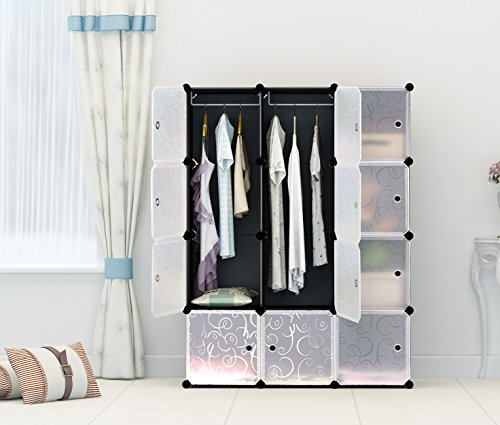 Portable Clothes Closet Wardrobe by Cosyhome-Freestanding Storage Organizer with doors , large space and sturdy construction. Black-12 cube (Modular Closet Drawers compare prices)