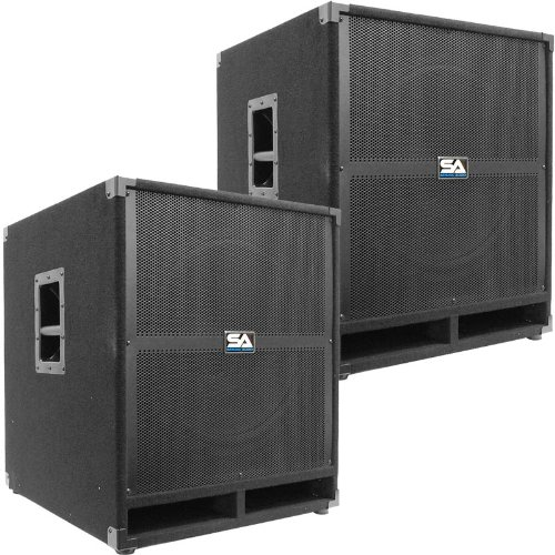 """Seismic Audio - Tremor-18Pair - Pair Of Powered Pa 18"""" Subwoofer Speaker Cabinets"""