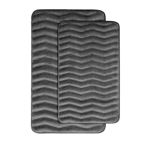Hlc me 2 piece soft and absorbent extra thick non skid for Charcoal grey bathroom accessories