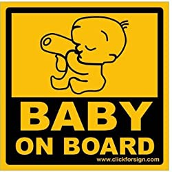 Clickforsign Baby on Board REFLECTIVE Car Sticker (Yellow)