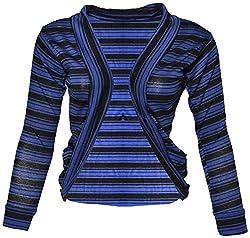 StyleU Girl's Semicotton Jacket (STU098, Blue & Black, M)
