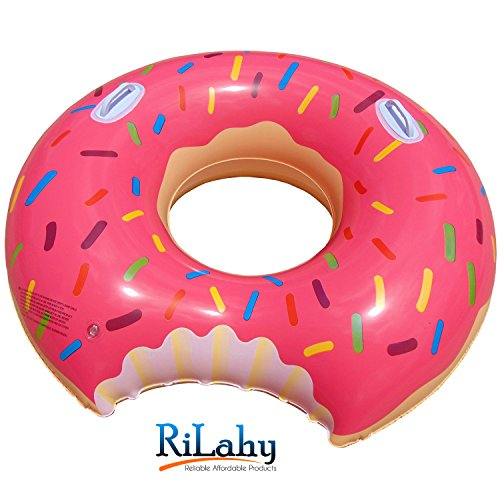Rilahy Inflatable Pool Tube With Safety Handles Large Strawberry Pink Donut Pool Floats For Kids Teens and Adults Outdoor Swimming Float Lounger Swim Ring Party Raft Floatie Toy For Pool or Beach (Chlorine Tablet Shark compare prices)