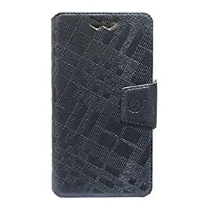 Jo Jo Cover Krish Series Leather Pouch Flip Case With Silicon Holder For Philips W8355 Dark Grey