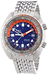 Doxa Sub 750T GMT Caribbean Men's Automatic Watch with Blue Dial Analogue Display and Silver Stainless Steel Bracelet 850.10.201N.10