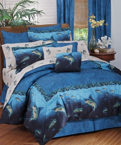 Coral reef fish bedding bedding 8 pc king comforter for Matching bedroom and bathroom sets