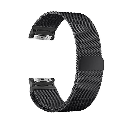 Samsung Gear Fit 2 Band, UMTELE Magnetic Closure Stainless Steel Mesh Milanese Loop Replacement Strap for Galaxy Samsung Gear Fit2 SM-R360 Smartwatch Black (5.5-9.3