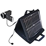 JVC Everio GZ-HM650 / HM655 compatible SunVolt Portable High Power Solar Charger by Gomadic - Outlet- speed charge for multiple gadgets