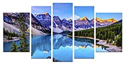 Startonight Canvas Wall Art Mountain Lake, Nature USA Design for Home Decor, Dual View Surprise Wall Art Set of 5 Total 35.43 X 70.87 Inch 100% Original Art Painting!