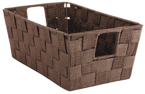 Whitmor Woven Strap Small Shelf Storage Tote, Java (Storage Baskets Small compare prices)