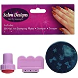 Nail Art Stamping Kit- 30 Manicure Plate Set with Polish Stamper and Scraper by Salon Designs