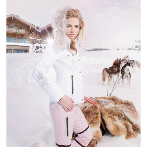 Sportalm Kitzbühel Lancelot mit Kapuze und Echtpelz - Damen Skijacke weiß mit Strass Gr. 36