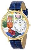 お洒落キャット ロイヤルブルーレザーバンド ゴールドフレーム腕時計 #G0120001