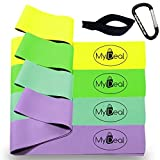MyDeal StretchGYM Fitness Stretch Band 6pc Portable Exercise Set with 4 x 100% Natural Latex Flat Elastic Fitness Bands ( 48 x 2.5 inches, Light, Medium, Heavy, Extra Heavy ), Door Anchor and Water-Resistant Carrying Case - F
