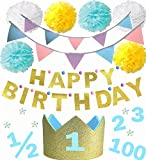 バースデークラウン 【100日祝い ハーフバースデー 1歳 2歳 3歳 年齢シール付】 誕生日 撮影 (ブルー4点セット(HAPPY BIRTHDAYガーランド、フラッグガーランド、ペーパーポンポン、クラウン)) ランキングお取り寄せ