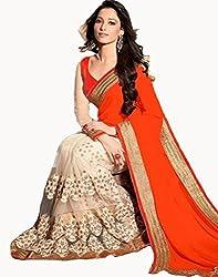 Shyam Creation9 Women Fancy Orange Georgette saree