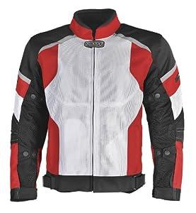 Pilot Men's Direct Air Mesh Motorcycle Jacket (White/Red/Black, XX-Large)
