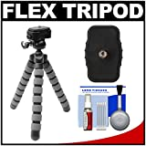 Precision Design PD-T14 Flexible Compact Camera Mini Tripod with Quick Release + Cleaning Kit