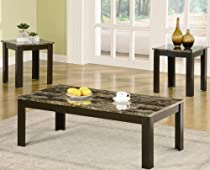 Hot Sale Black Finish Marble Looking 3 Piece Table Set