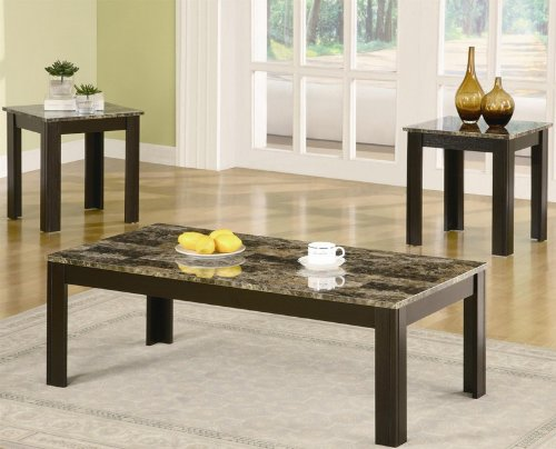 3pc coffee table and end tables set with marble top in black finish