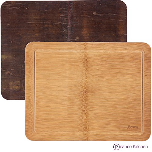Dual Purpose Bamboo Kitchen Board - Bamboo Cutting Board with Juice Groove & Dedicated Bamboo Serving Tray Side - 14