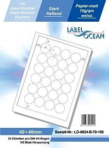 LabelOcean LO-0024-b-70,  2400 Etiketten 40mm rund A4, 70g/qm, geeignet für Inkjetdrucker-, Laserdrucker und Kopierer.