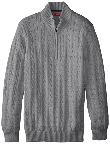 IZOD Men's Big-Tall 1/4 Zip Cable Sweater, Light Grey Heather, X-Large Tall