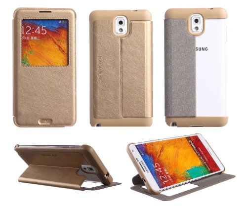 Nikay® KLD KA Style Stand Snap-on Ultra Thin Side Flip Synthetic Leather Cover Case With Nikay® NFC Tag for Samsung Galaxy Note 3 III N9000 N9002 N9005 (Gold)