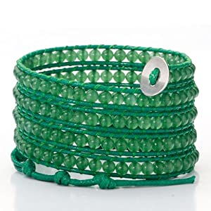 Pugster Pure Green Beads On Green Leather chan Luu Turquoise Wrap Bracelet With Snap Button Lock Bracelets For Women