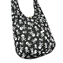BTP! Skull Punk Rock Hippie Hobo Thai Cotton Sling Crossbody Bag Messenger Purse (Black SK1)