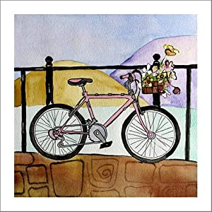 Bicycle art prints pink bike artwork for Bicycle painting near me