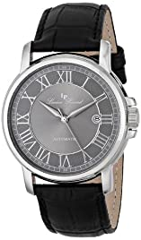 Rioja Automatic Silver-Tone Steel Case Gunmetal Dial Black Genuine Leather Strap