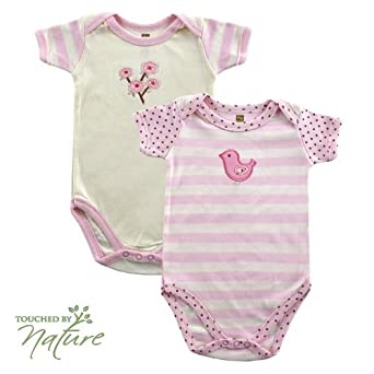 Hudson Baby Touched by Nature Organic Bodysuit 2pk, Pink, 0-3 months