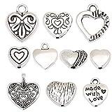 HYBEADS 100pcs Tibetan Silver Sweet Heart Spacer Charm Beads Mix Lot Heart Beads Box Set Assortment